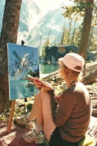 Jan Cook Mack Painting At Lake Colchuck